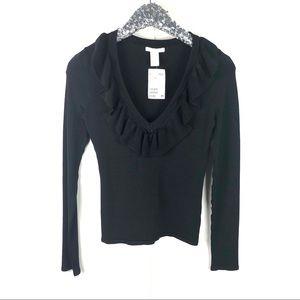 NWT H&M Black Ruffle Sweater Size Small